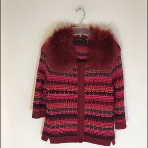 NWT Nick + Zoe  fur collar burgundy 3/4 sleeves.
